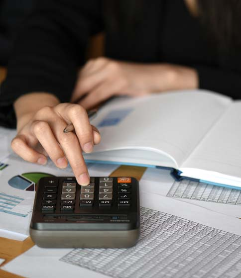 Small business owner doing accounting work